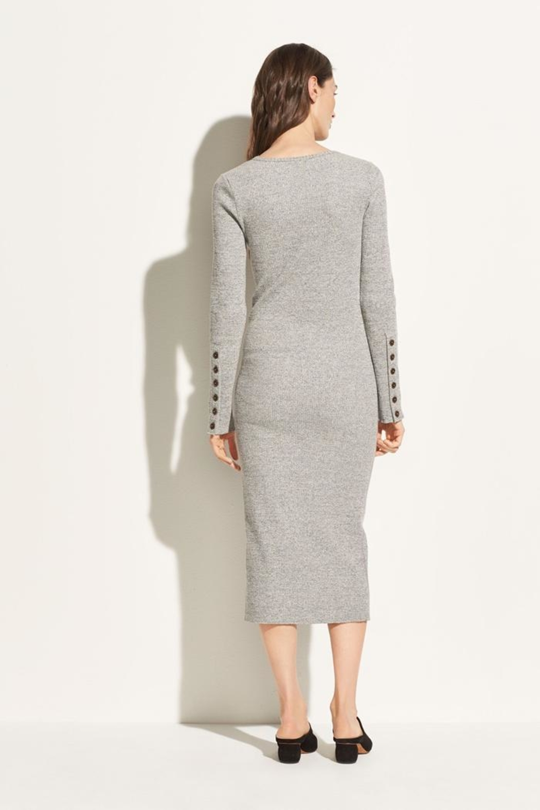 Vince Longsleeve Rib Dress - Back Cropped Image