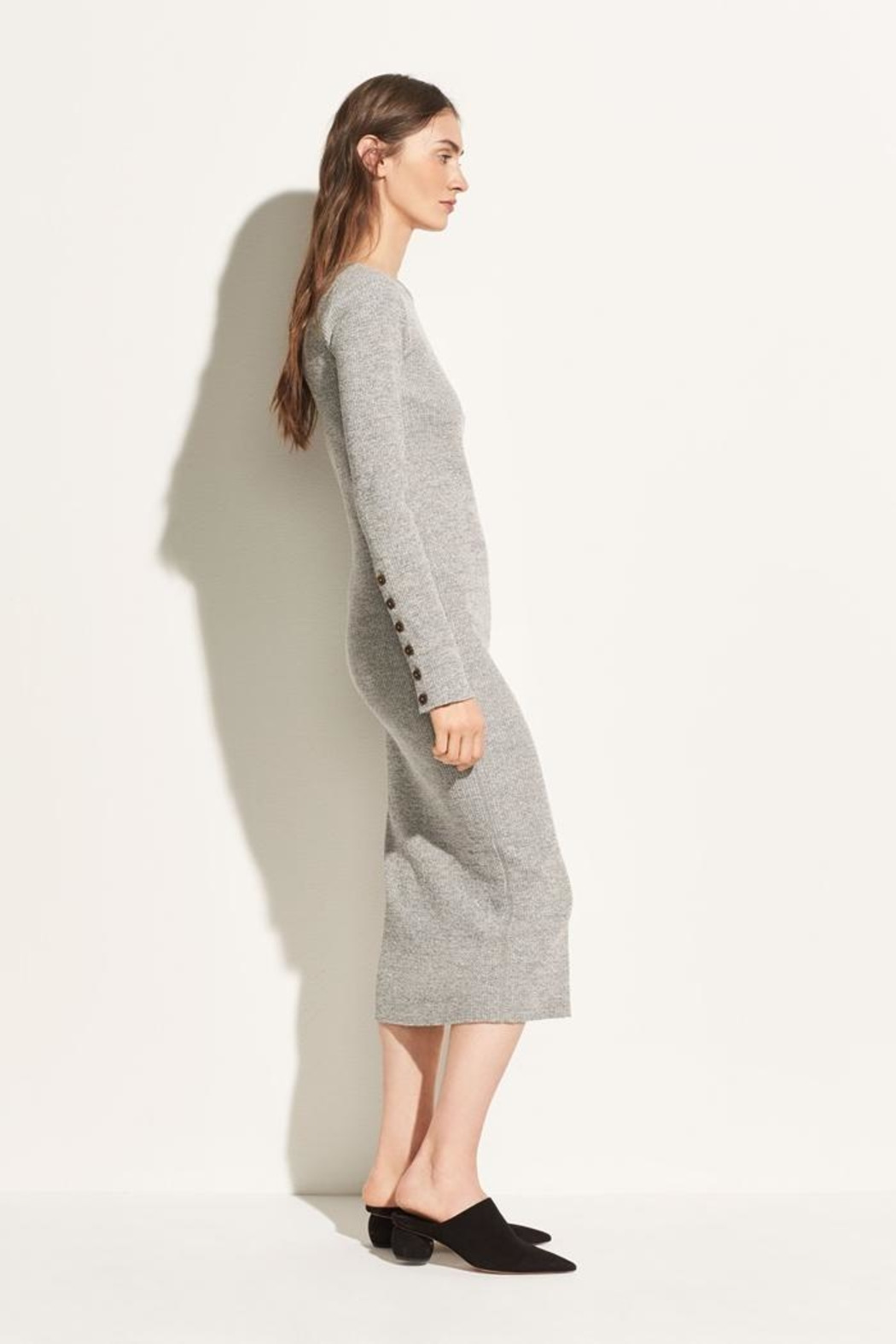 Vince Longsleeve Rib Dress - Side Cropped Image