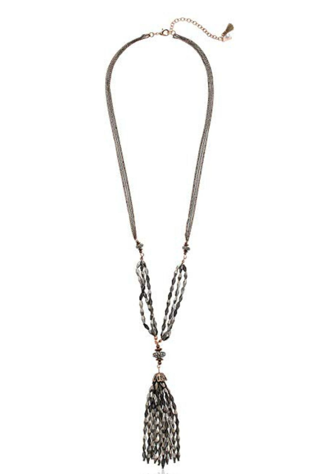 lonna & lilly Hematite Tassel Necklace-Set - Front Full Image