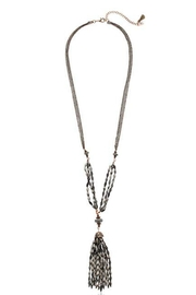 lonna & lilly Hematite Tassel Necklace-Set - Front full body