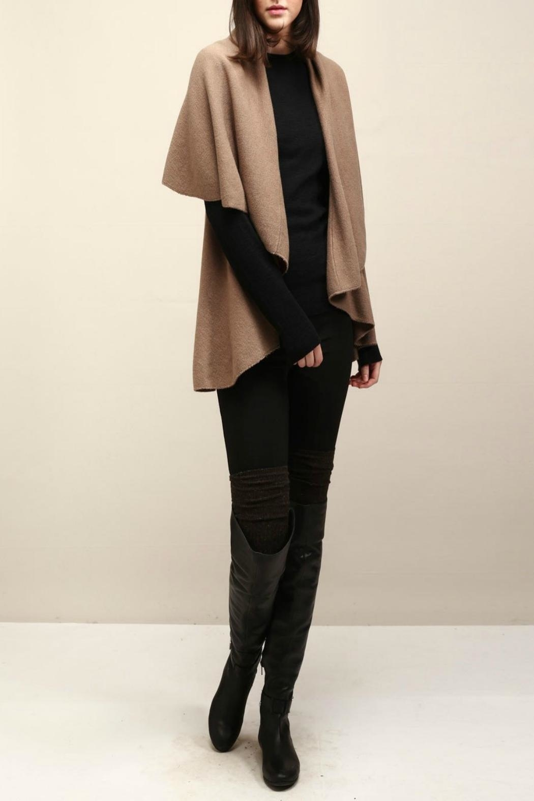 Look by M Basic Taupe Shawl Vest - Front Cropped Image