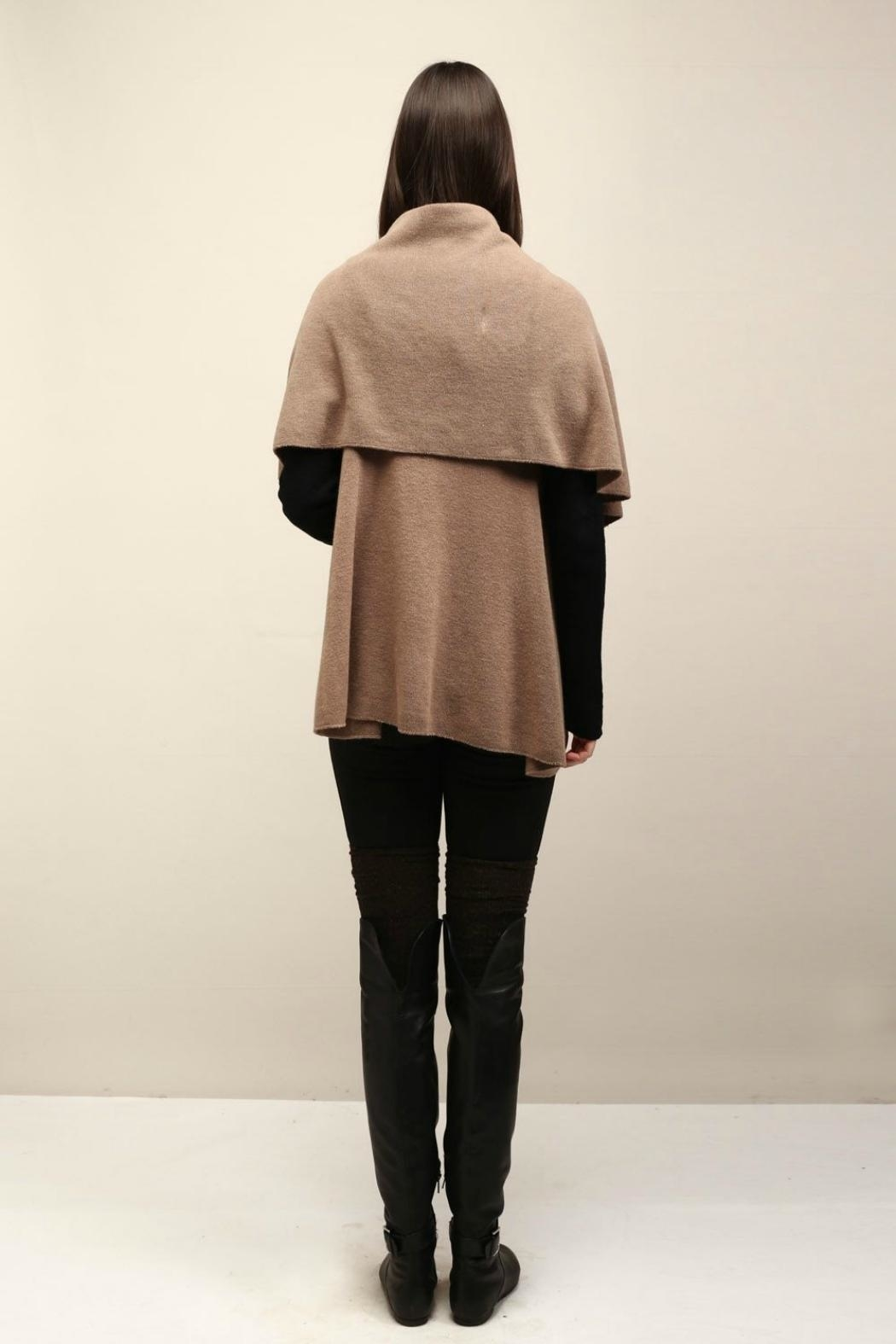 Look by M Basic Taupe Shawl Vest - Back Cropped Image