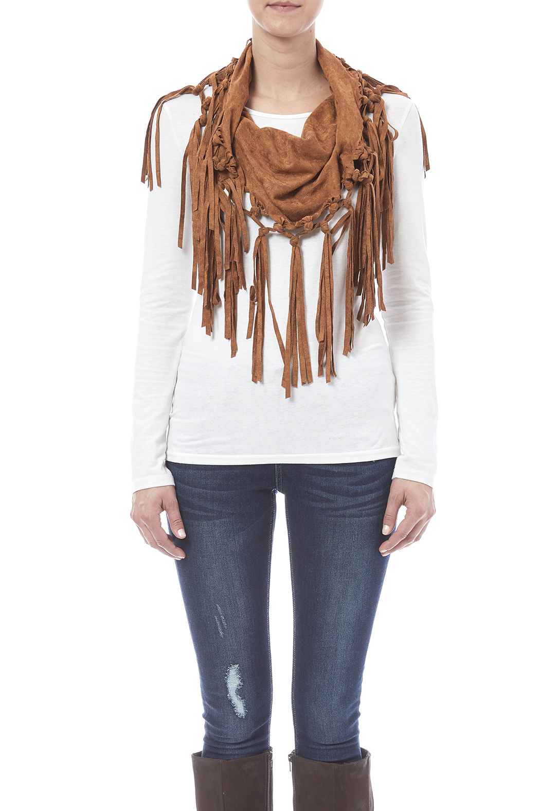 Look by M Vegan Suede Fringe Scarf - Front Full Image