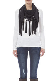 Look by M Vegan Suede Fringe Scarf - Front full body