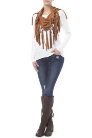 Look by M Vegan Suede Fringe Scarf - Front cropped