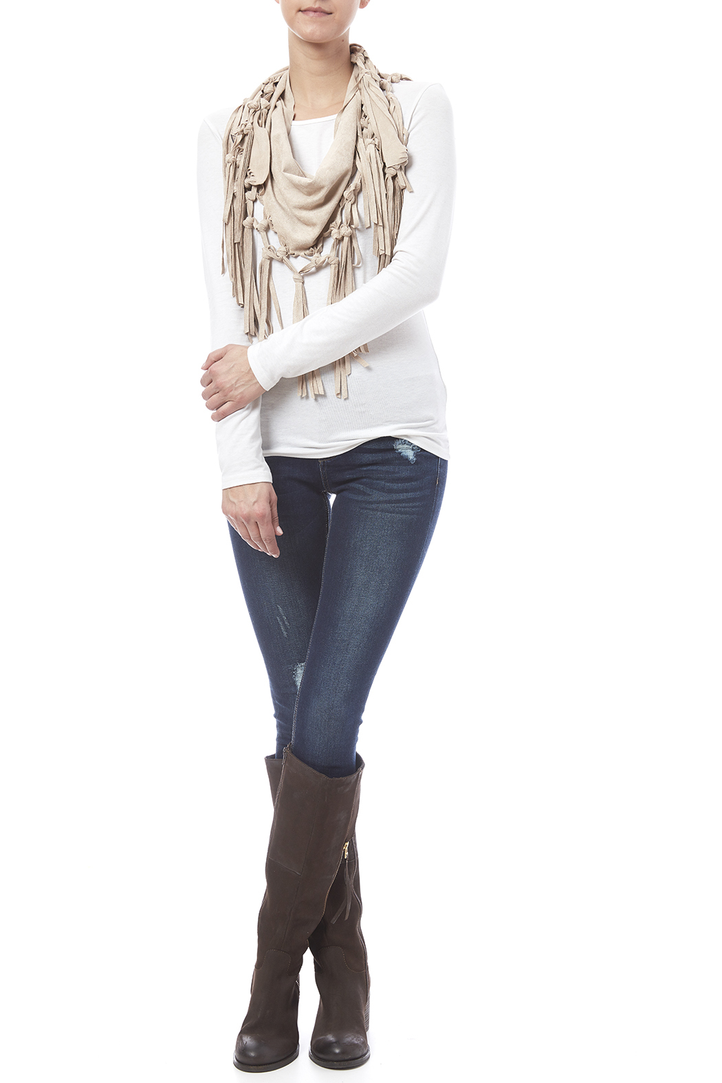Look by M Vegan Suede Fringe Scarf - Front Cropped Image