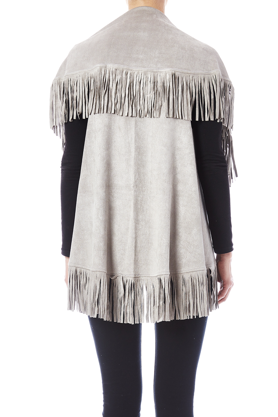 Look by M Faux Suede Shawl - Back Cropped Image