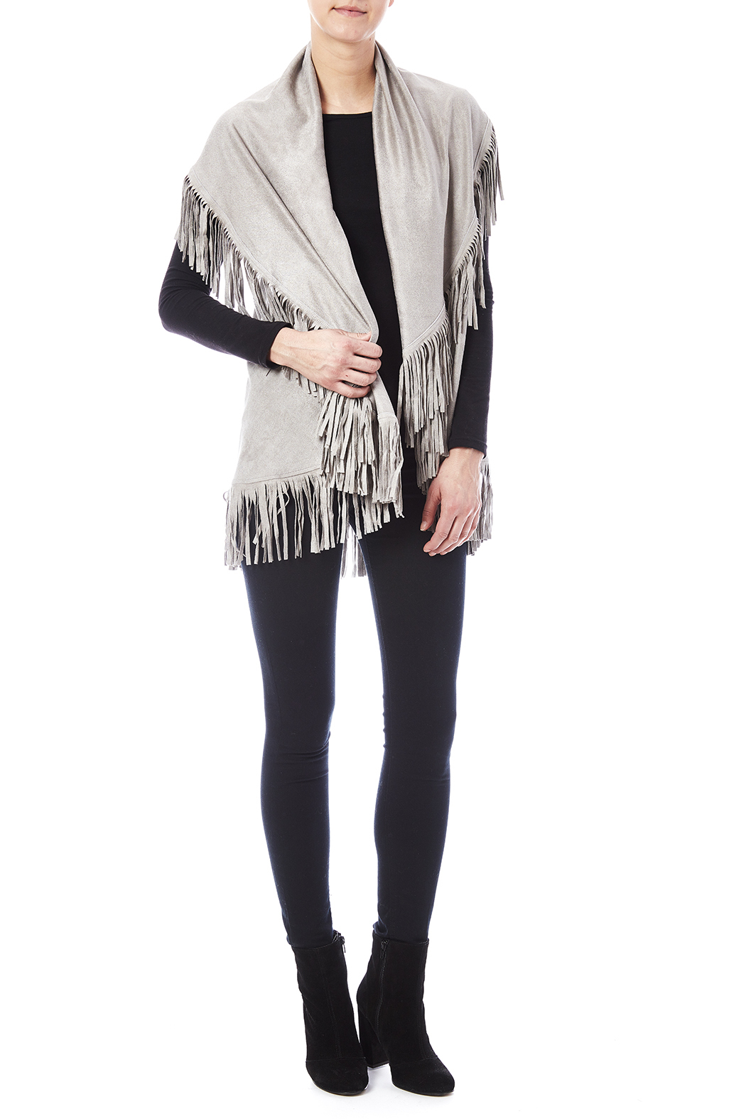 Look by M Faux Suede Shawl - Front Full Image