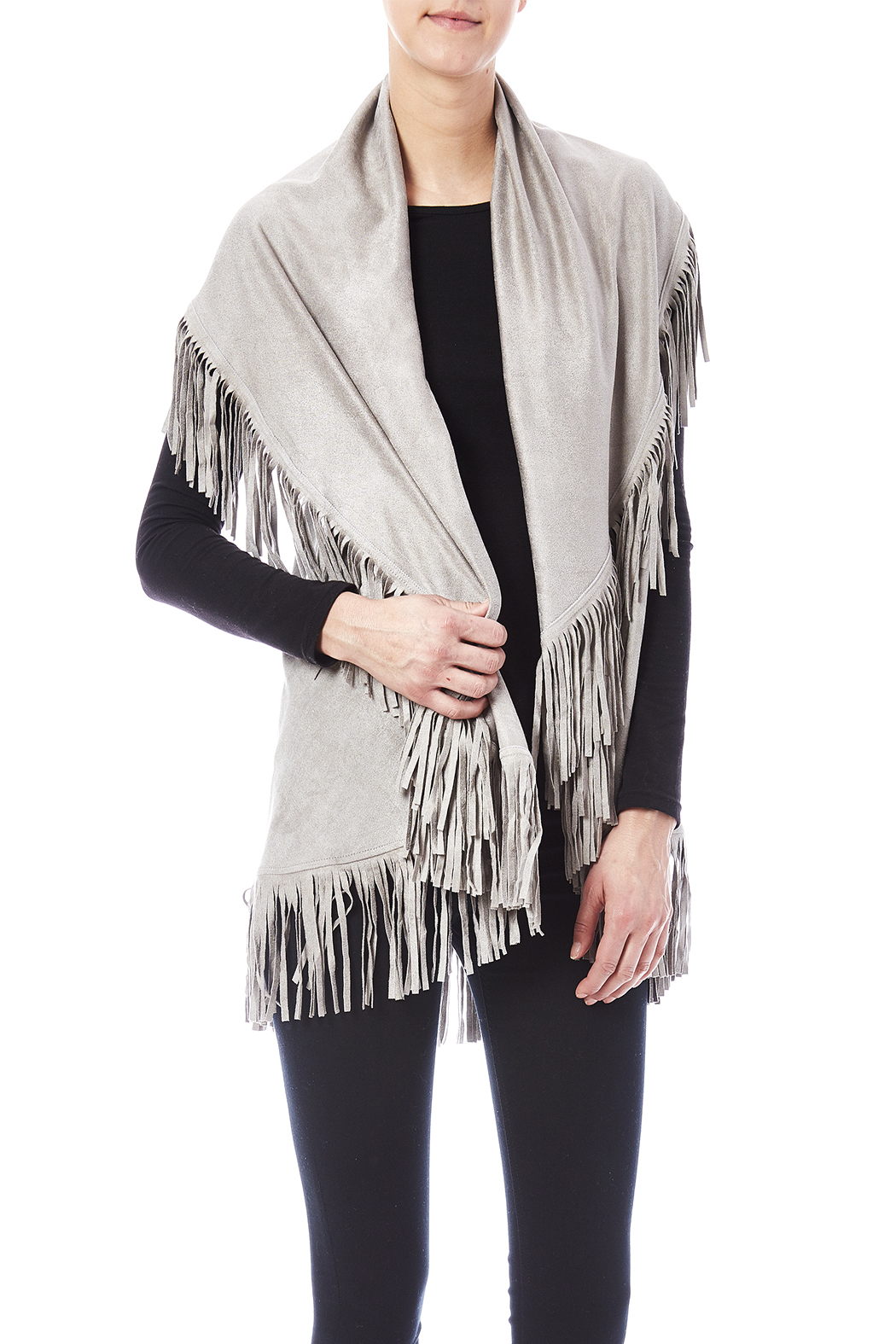 Look by M Faux Suede Shawl - Front Cropped Image