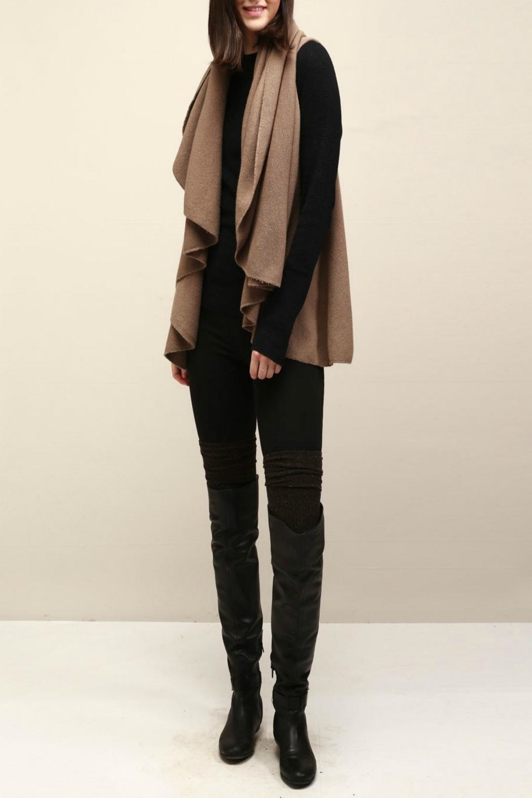Look by M Basic Taupe Shawl Vest - Front Full Image
