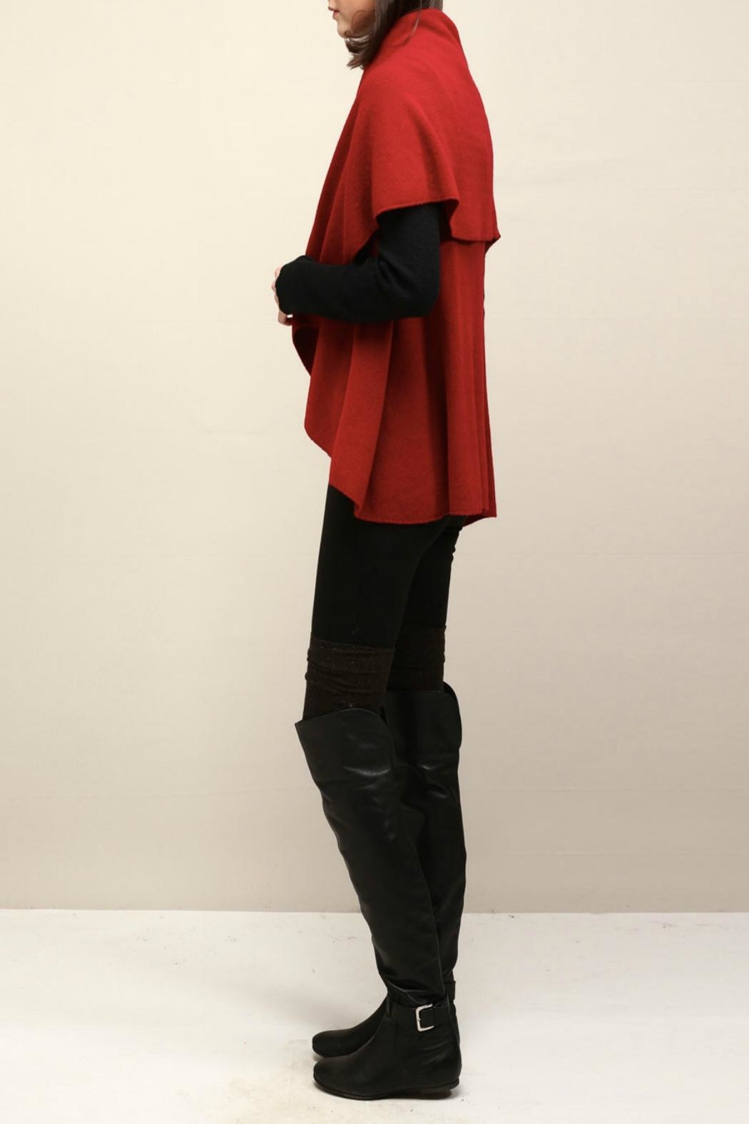 Look by M Basic Red Shawl Vest - Front Full Image