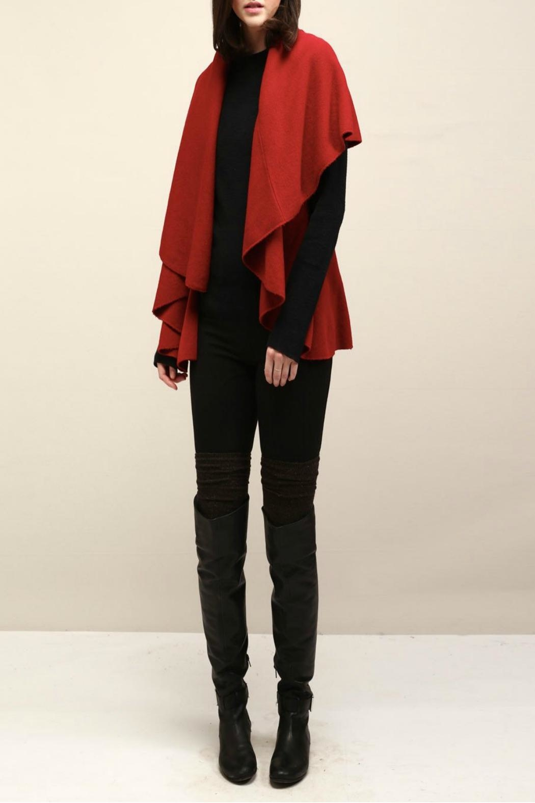 Look by M Basic Red Shawl Vest - Main Image