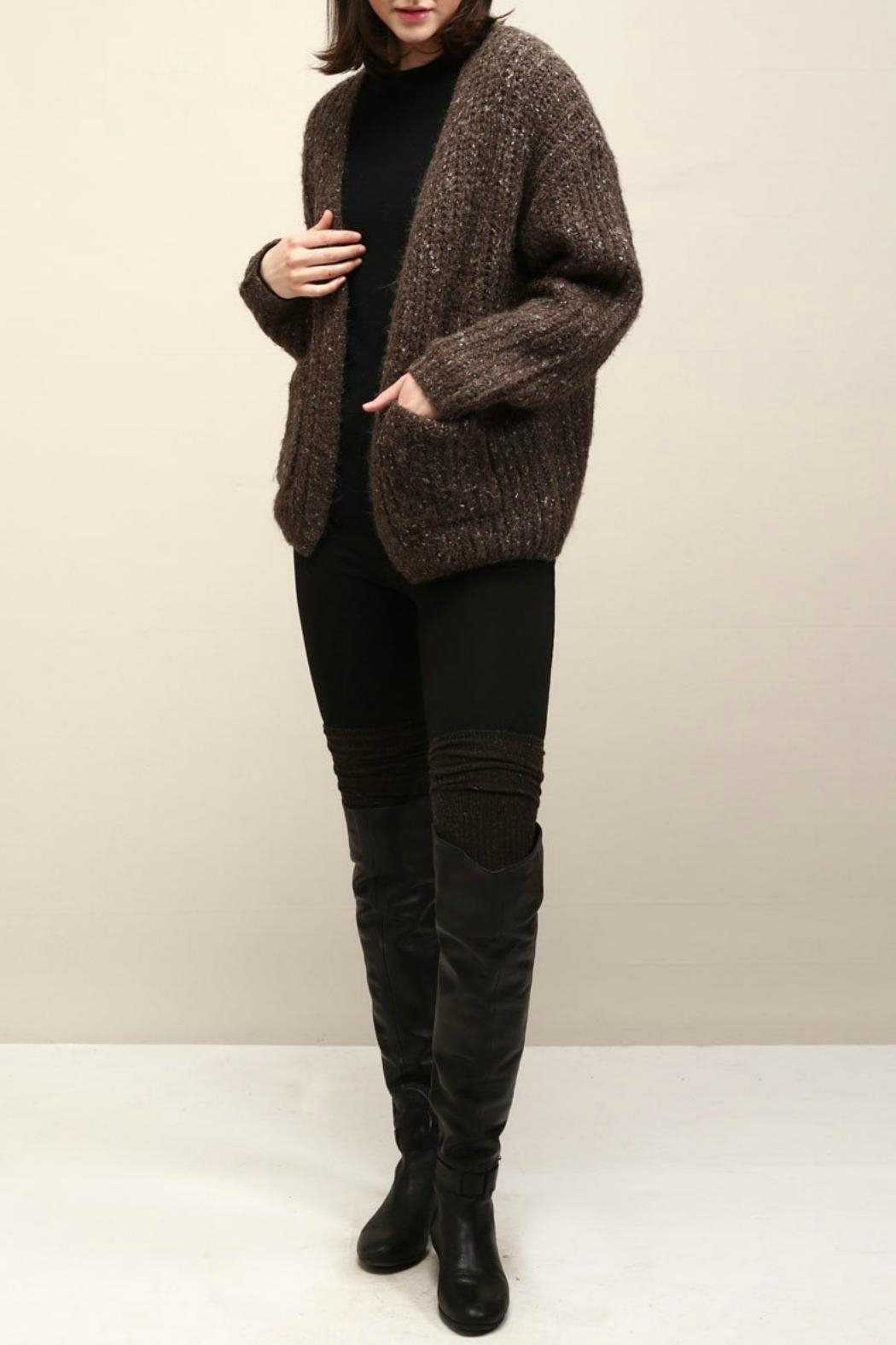 Look by M Cocoon Short Cardigan - Front Cropped Image