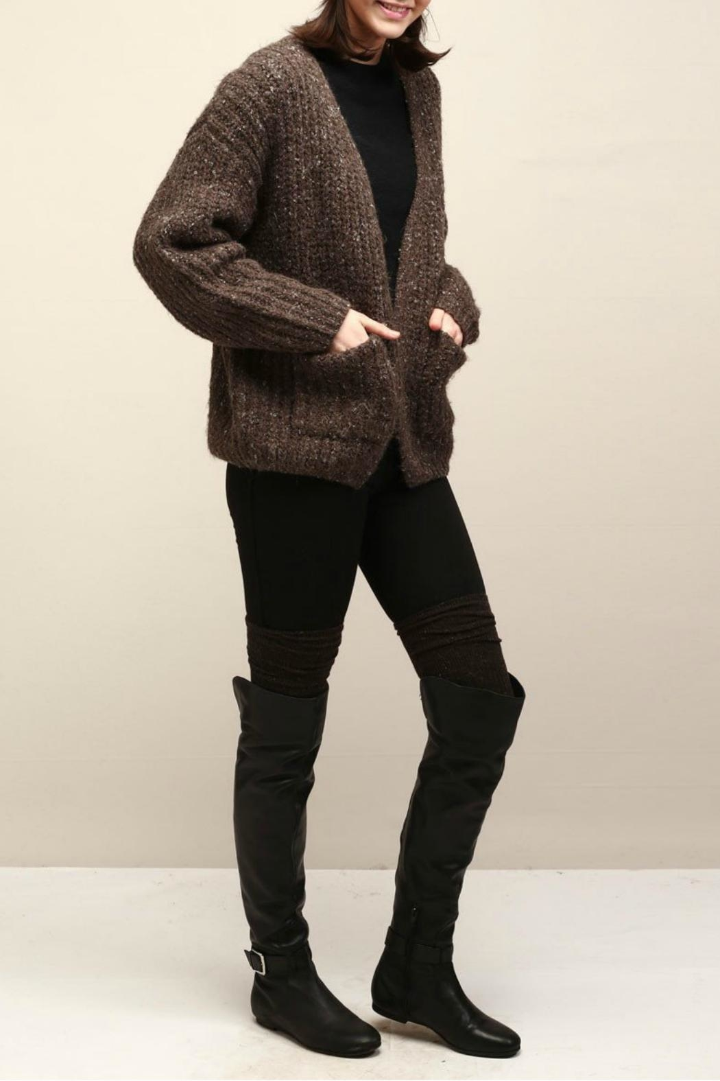 Look by M Cocoon Short Cardigan - Side Cropped Image