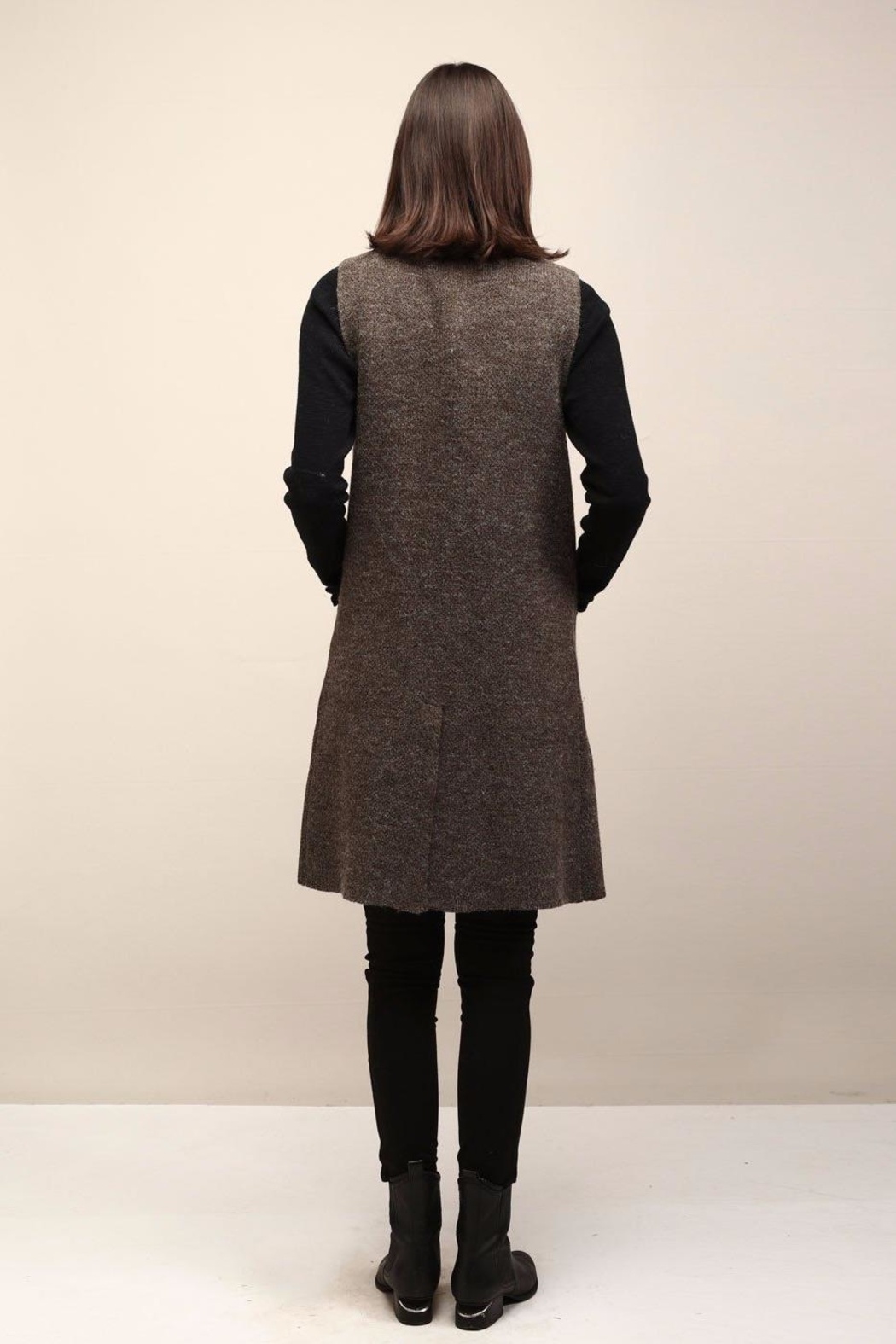 Look by M Collared Knit Vest - Front Full Image