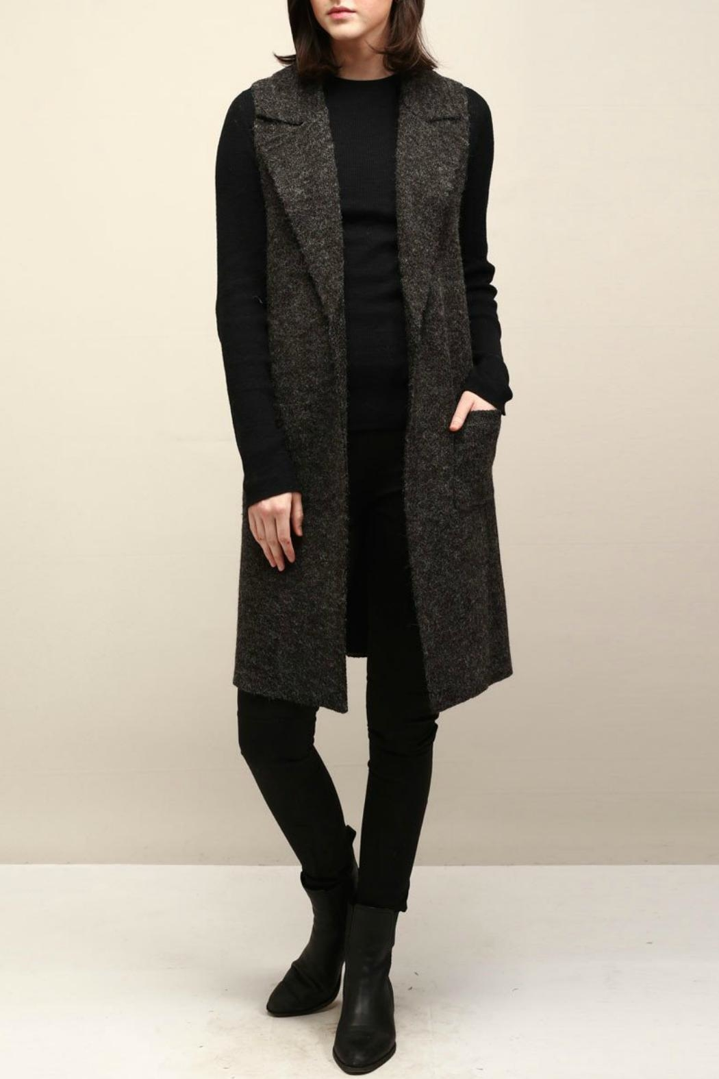 Look by M Collared Knit Vest - Front Cropped Image