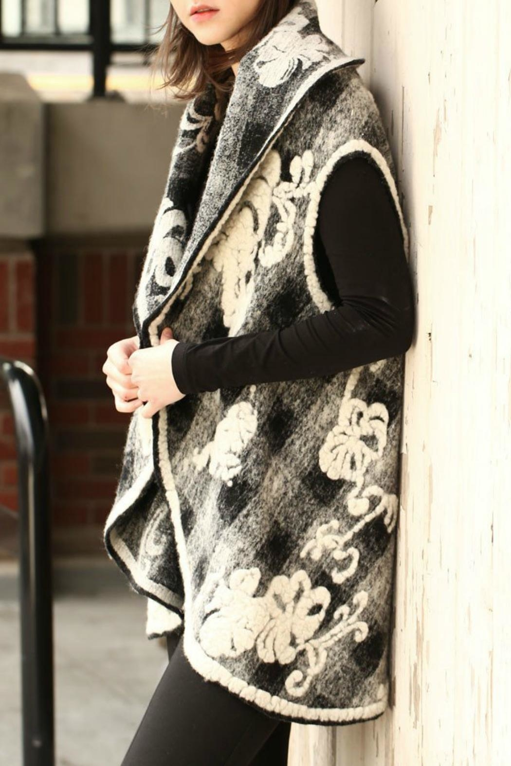 Look by M Floral Embossed Shawl/vest - Front Full Image