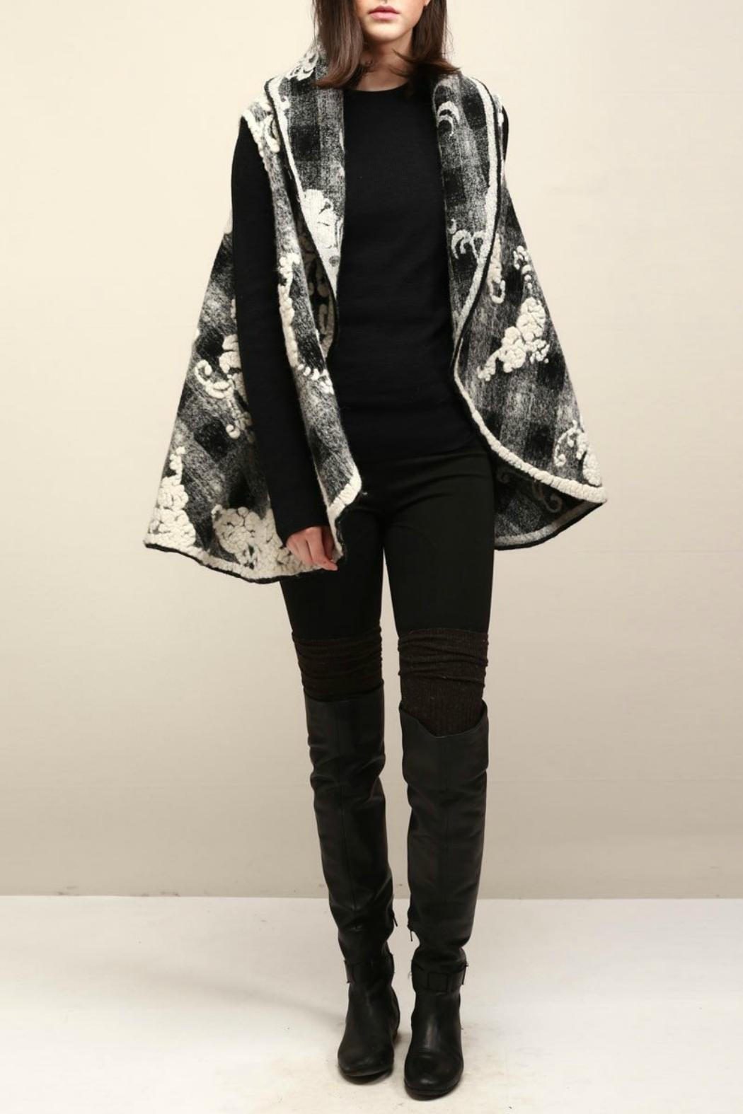 Look by M Floral Embossed Shawl/vest - Main Image