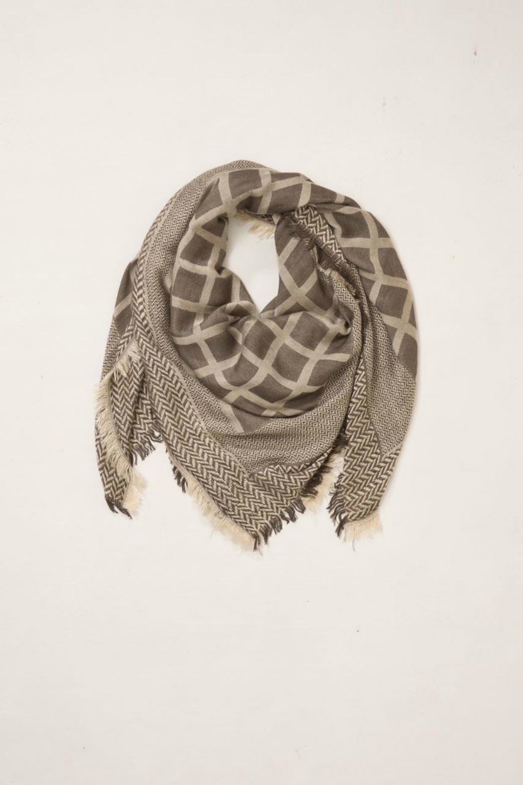 Look by M Grid/herringbone Square Scarf - Front Cropped Image
