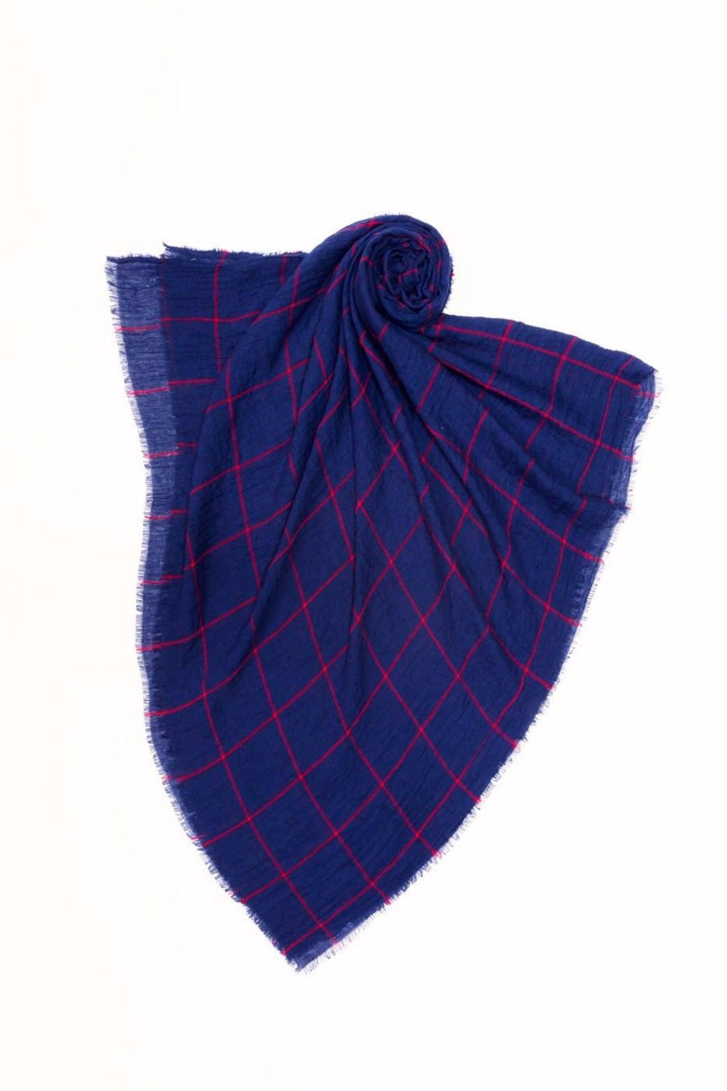 Look by M Navy Grid Scarf - Front Full Image