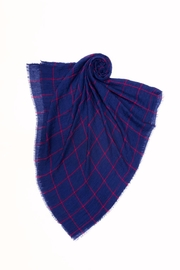 Look by M Navy Grid Scarf - Front full body