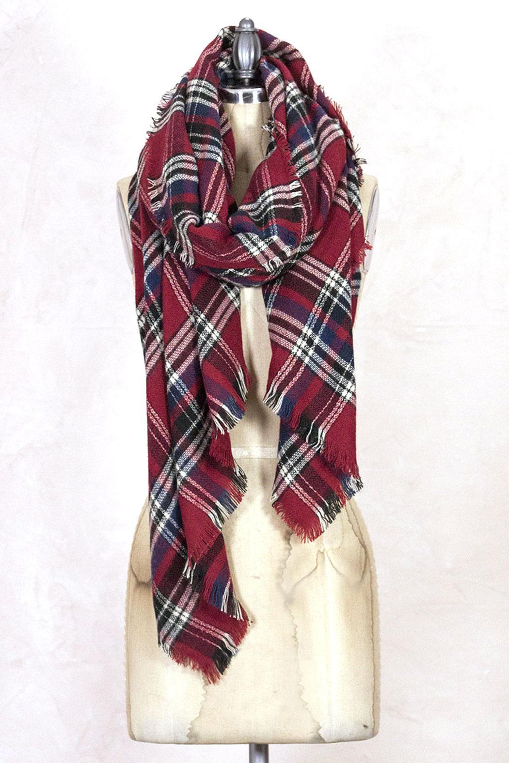 Look by M Red Plaid Scarf - Front Full Image