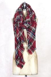 Look by M Red Plaid Scarf - Front full body