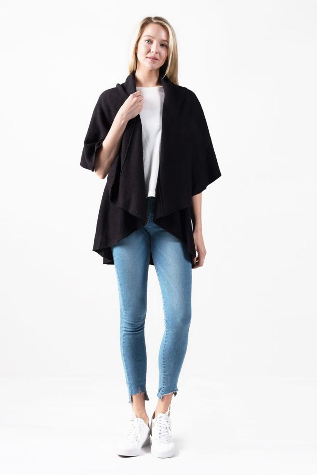Look by M Solid Shawl Vest - Front Cropped Image
