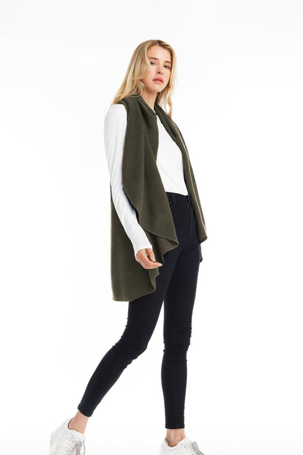 Look by M Solid Shawl Vest - Back Cropped Image