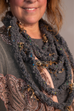 Handmade by CA artist Multi-Strand, Layered Crocheted Necklace-Scarf - Product List Image