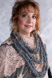 Handmade by CA artist Loop di Loop Crocheted Necklace-Scarf - Front cropped