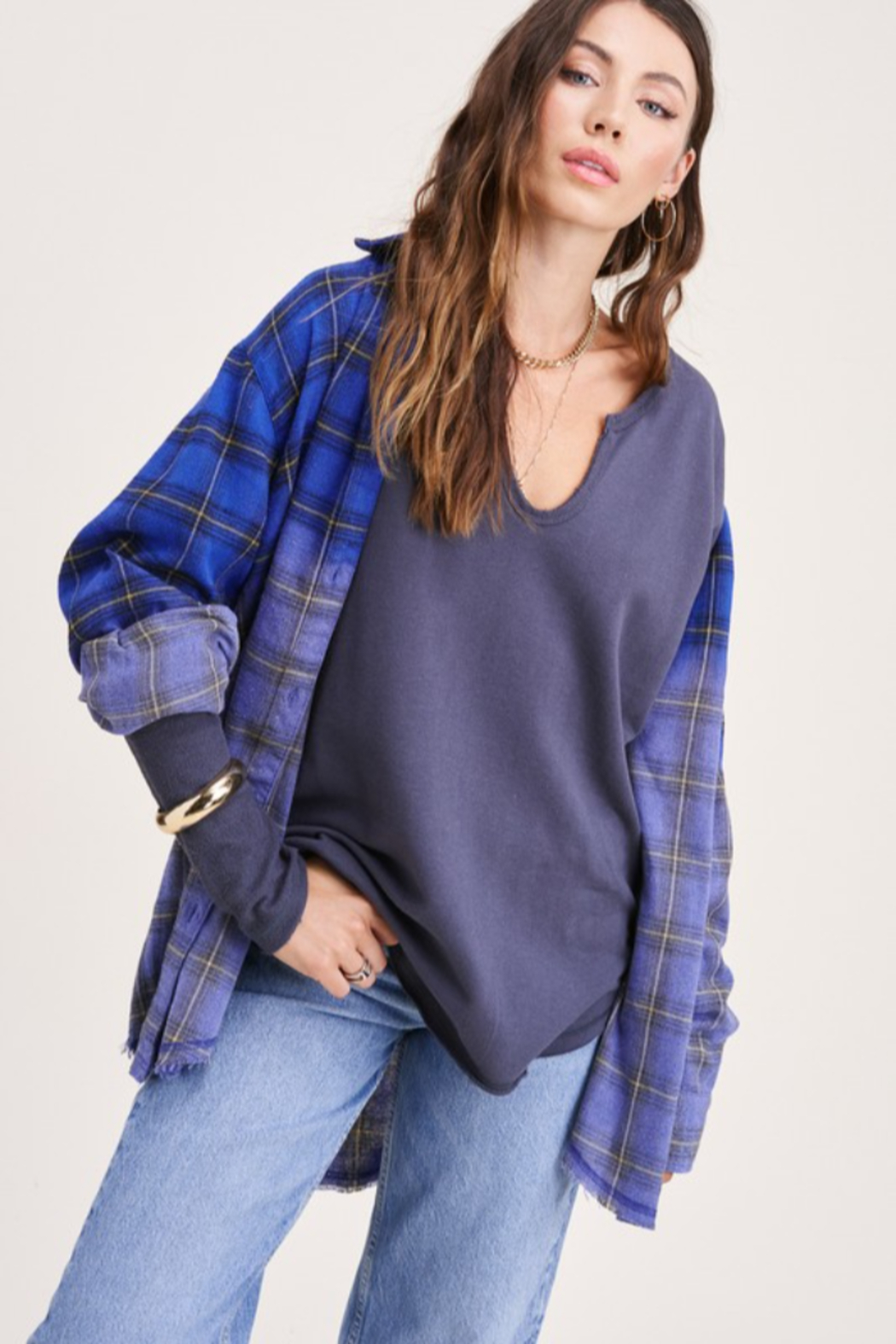 LA MIEL  Loop Terry Textured Tee - Front Cropped Image