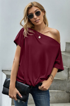 Shewin Loose Fitting Boat Neck Short Sleeve Top - Product List Image