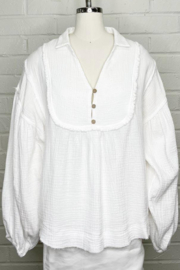 Fate  Loose Gauze Blouse with Collar - Product Mini Image