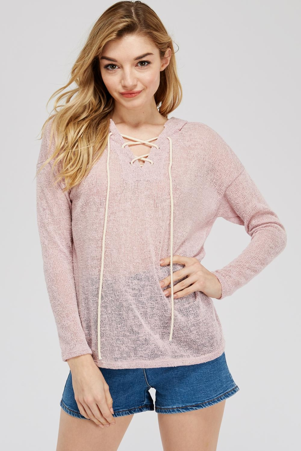 Jolie Loose Knit Hoodie - Front Cropped Image