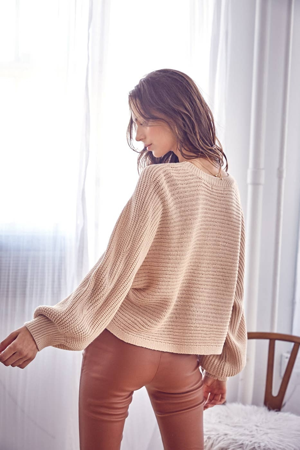 Idem Ditto  Loose Natural Fit Sweater - Natural - Back Cropped Image
