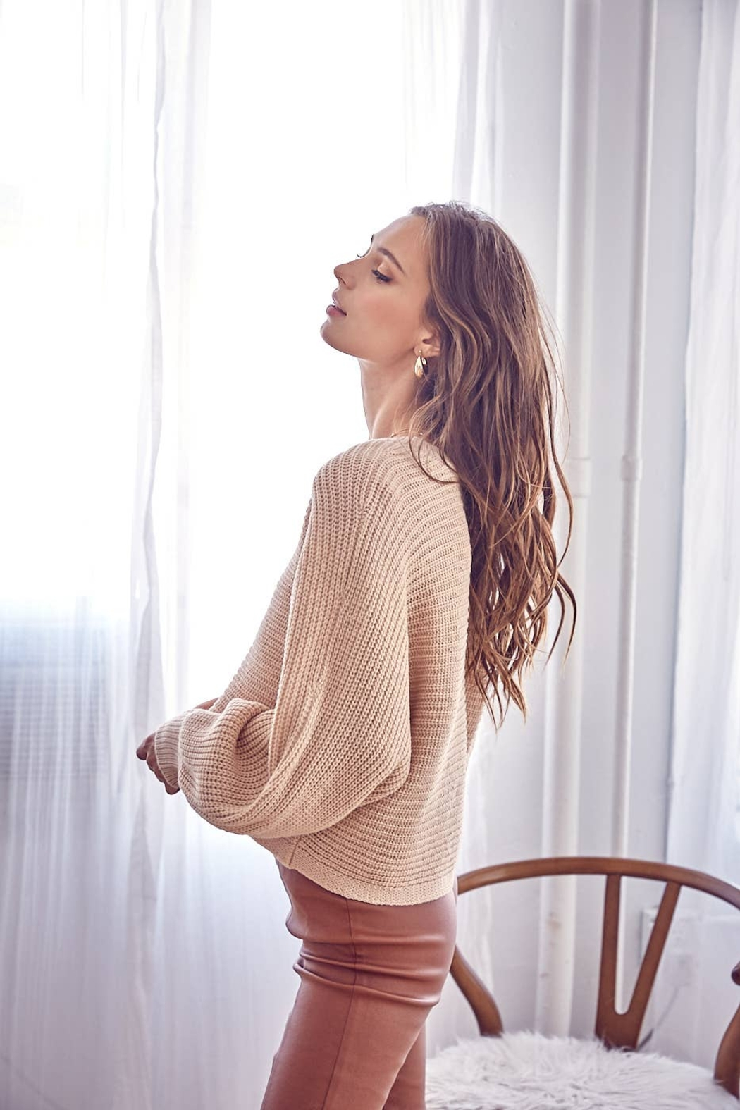 Idem Ditto  Loose Natural Fit Sweater - Natural - Front Full Image