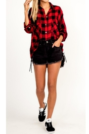 Olivaceous Loose Plaid Shirt - Product Mini Image