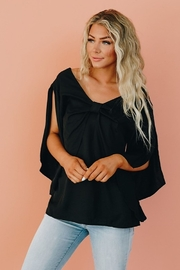 Shewin Loose Sleeve Blouse with Front Bow Knot - Product Mini Image