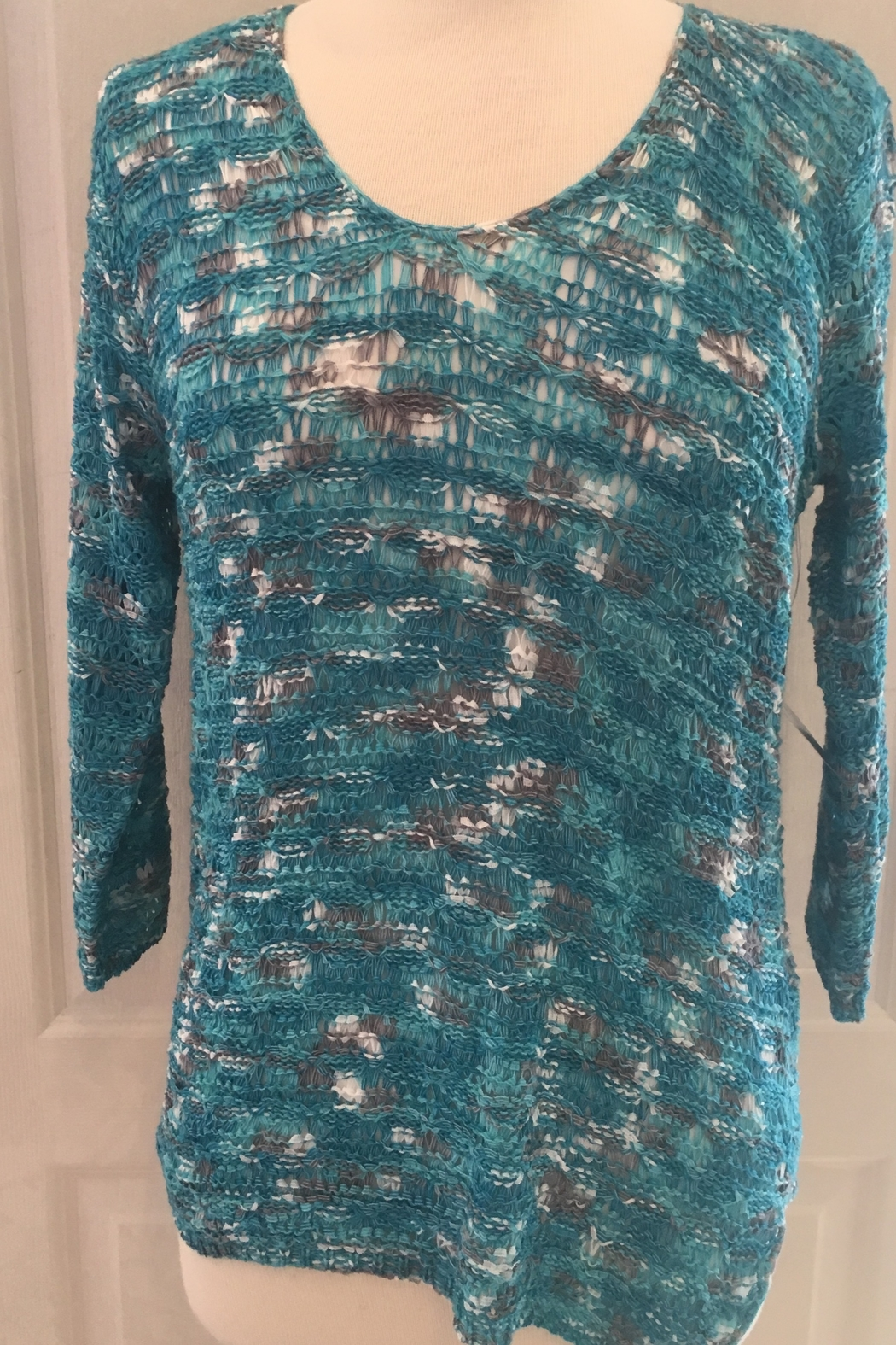 Tribal Loose weave turquoise tunic to wear over tank - Main Image