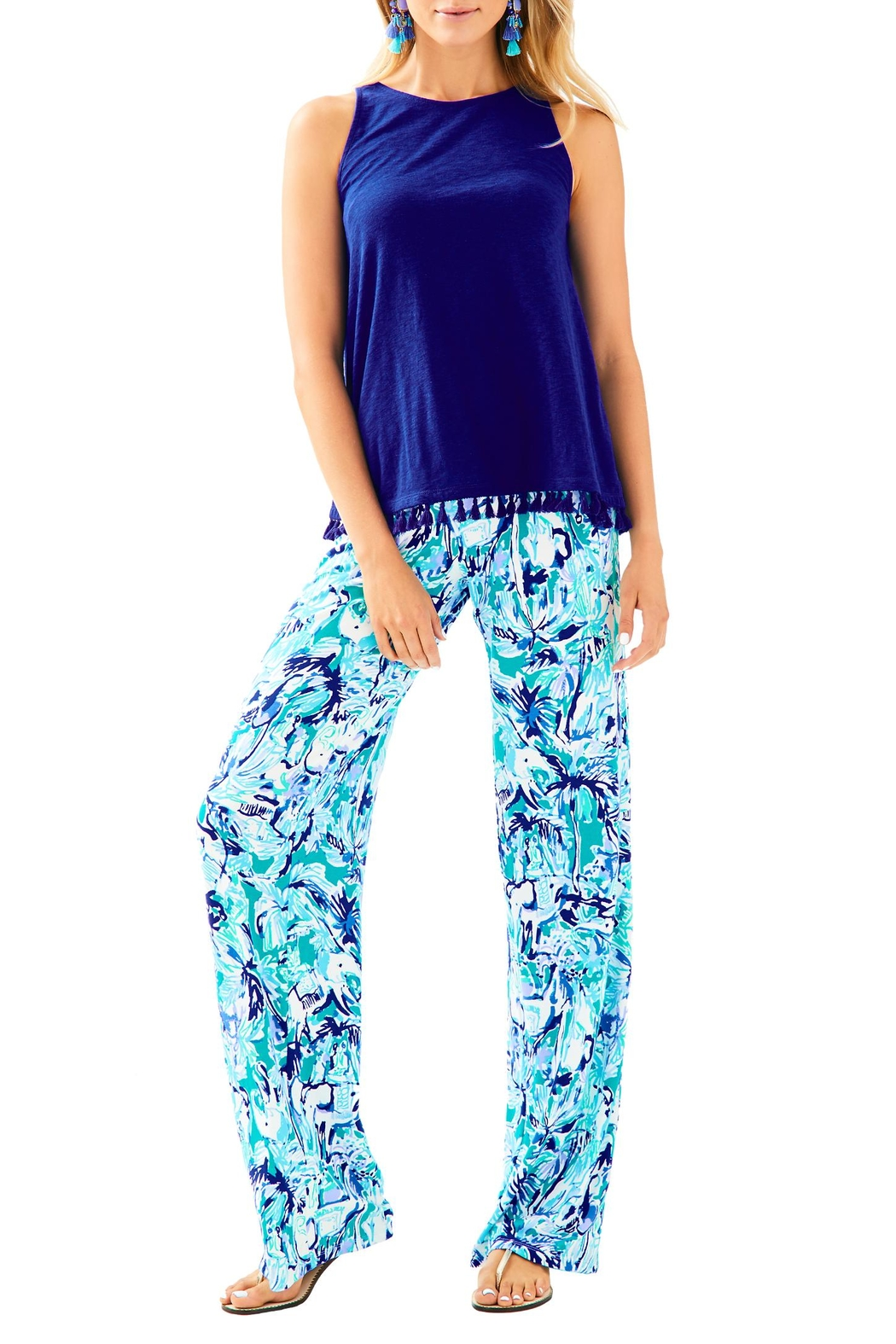 Lilly Pulitzer Lorena Palazzo Pant - Back Cropped Image