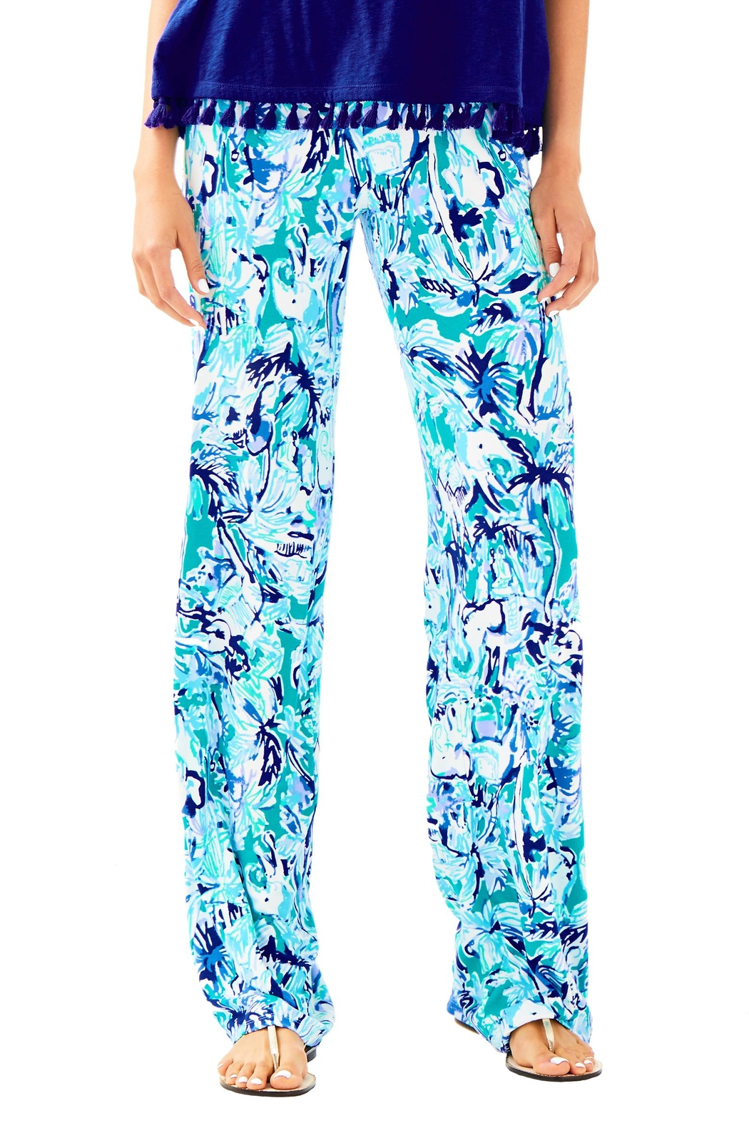 Lilly Pulitzer Lorena Palazzo Pant - Front Cropped Image