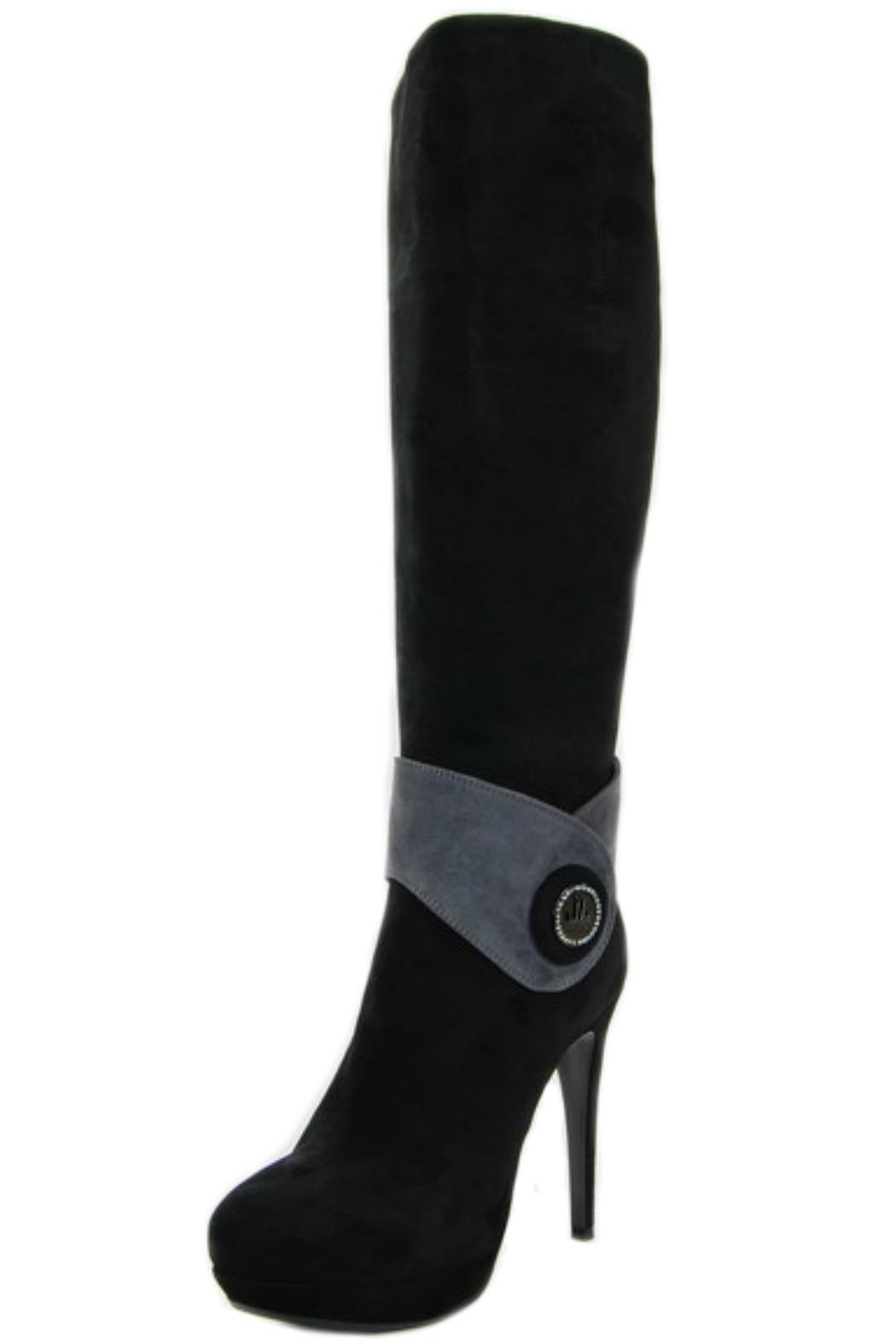 Loriblu Black Suede Boot - Front Cropped Image