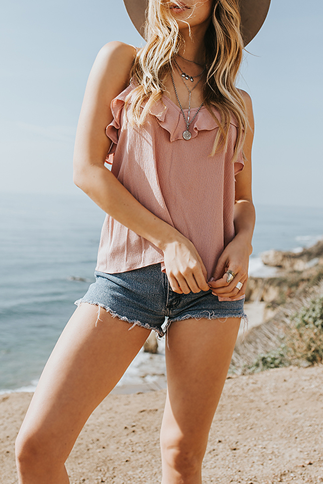 Lost + Wander Rose Ruffle Tank Top - Main Image