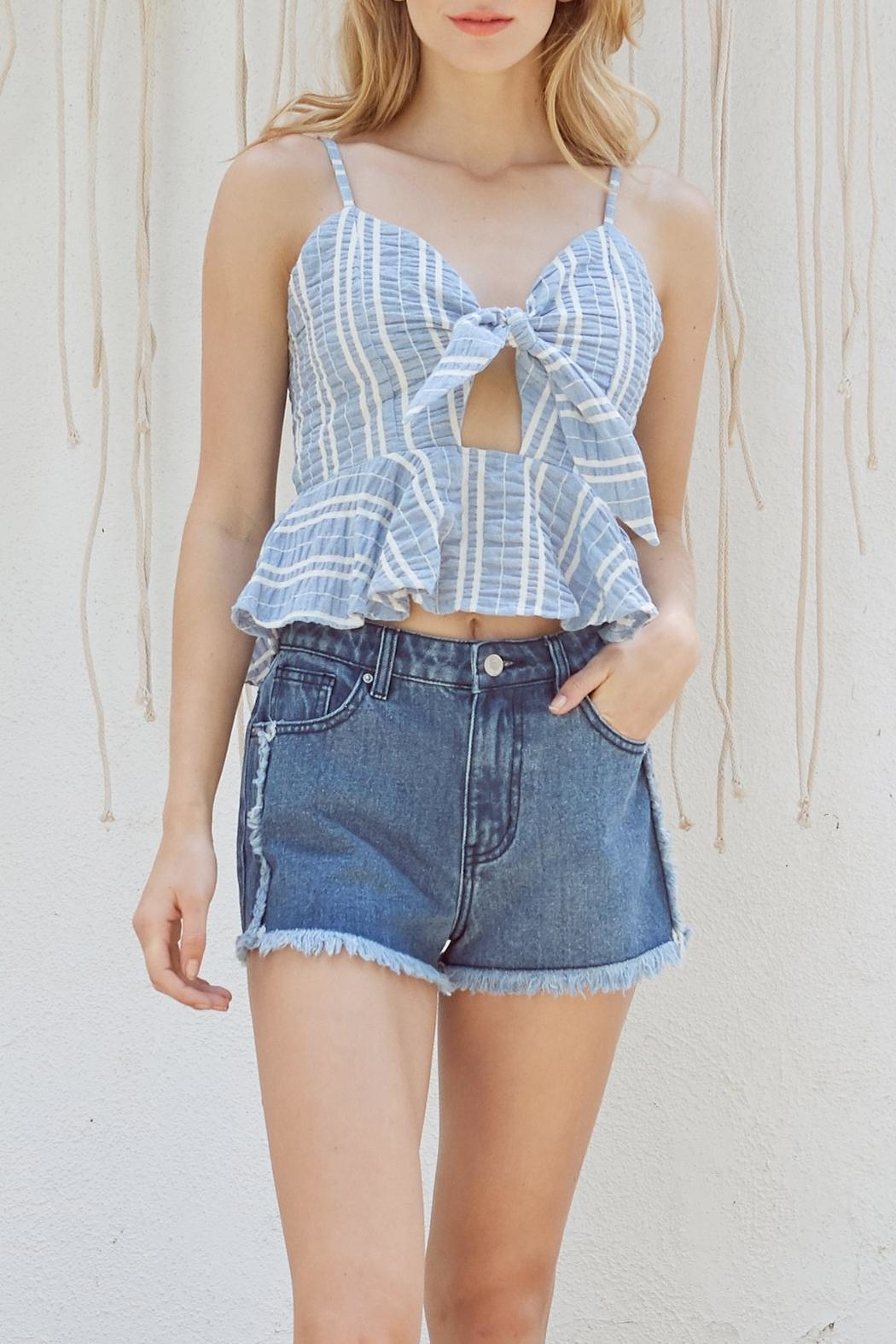Lost + Wander Waves Ruffle Top - Front Cropped Image