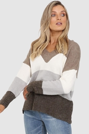Lost in Lunar Khaki Stripe Sweater - Front cropped