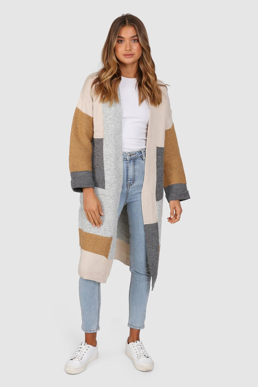 Lost in Lunar Colour-Block Pearce Cardigan - Back Cropped Image
