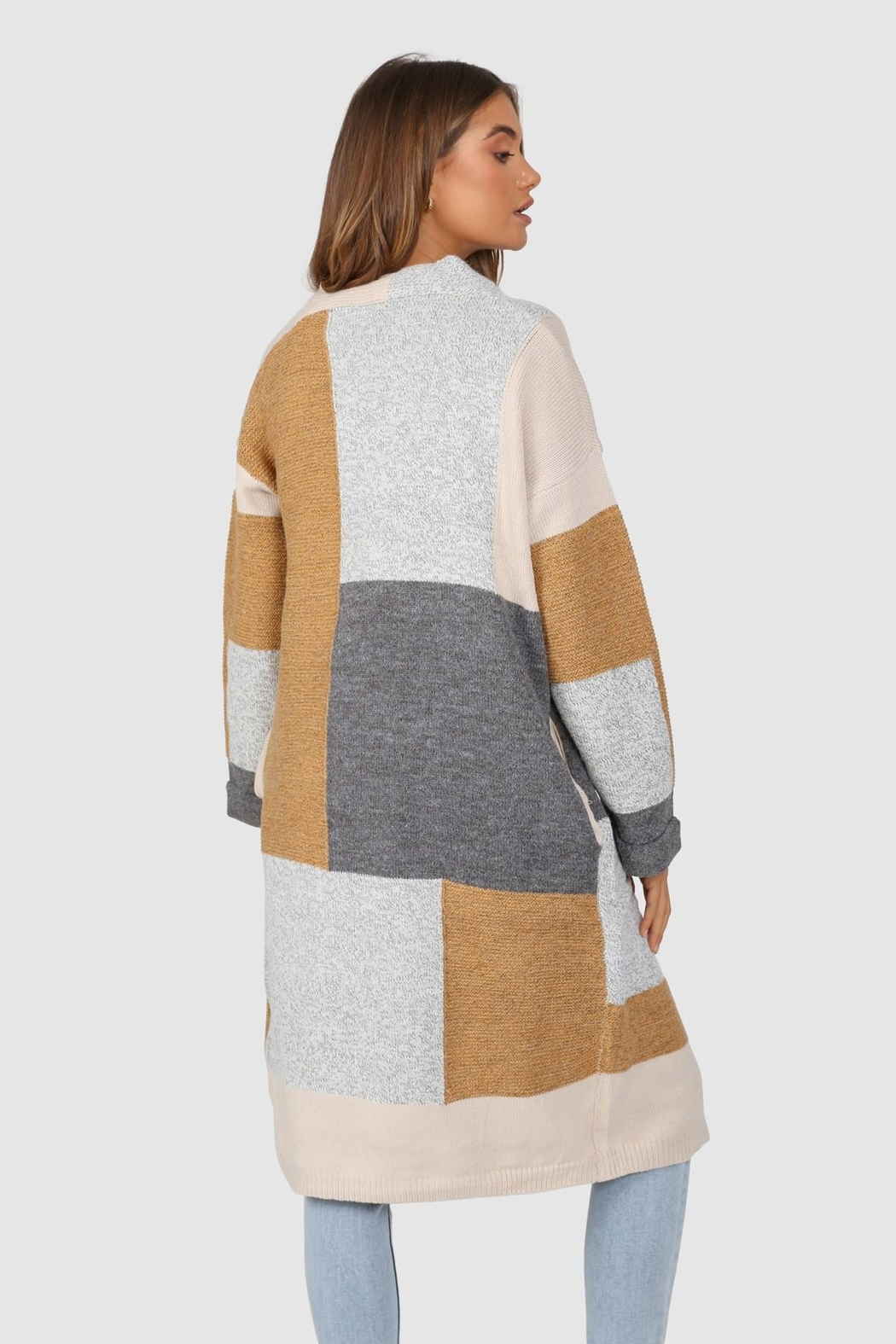 Lost in Lunar Colour-Block Pearce Cardigan - Side Cropped Image