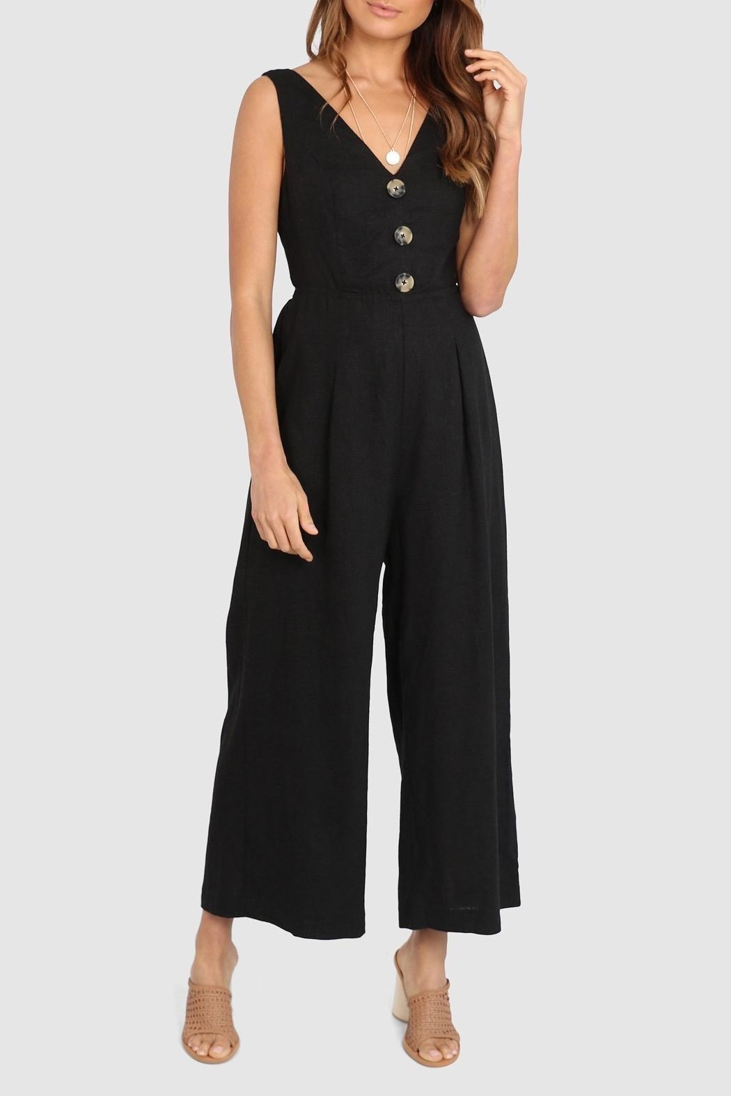 Lost in Lunar Maya Linen Pantsuit - Front Cropped Image