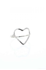 Lotus Silver Heart Ring - Front cropped